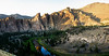 The Crooked River turns a corner with several massive abutments of Smith Rock looming above as the sun goes down.