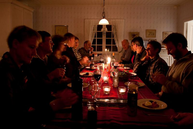 Dags för middag efter bastun