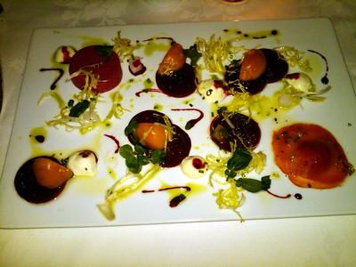 Beet Fantasia: Three Varieties of Roasted Beets, Beet Mousse and Citrus Salsa