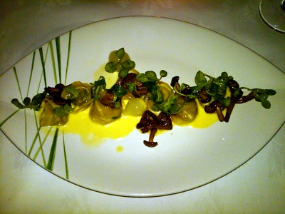 Artichoke Filled Cappelletti (Little Pasta Hats) with Braised Artichokes Perfumed with Mint