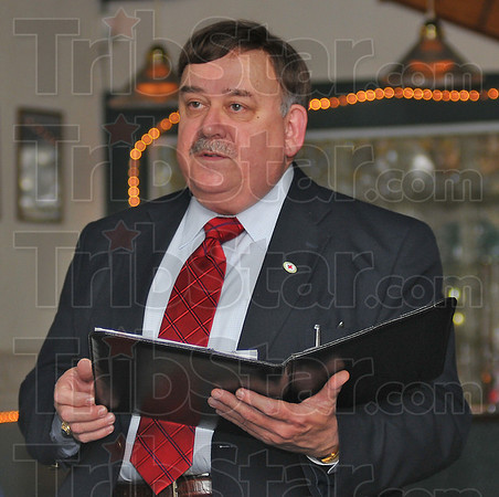 Goals and accomplishments: Rod Beasley, Board Chair for teh Wabash Valley Chapter of the Red Cross started the Save the Day Campaign with a reading of a list of the organizations work over the past year.