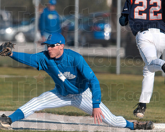Reaching out: Rockville first baseman Matt King stretches out to force out a North Putnam batter Thursday in Rockville.