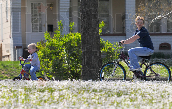 Spring break: Hunter Erwin leads his mom Kelly Peacock around Collett Park Thursday afternoon. The parks' Spring Beauties are at their height right now.