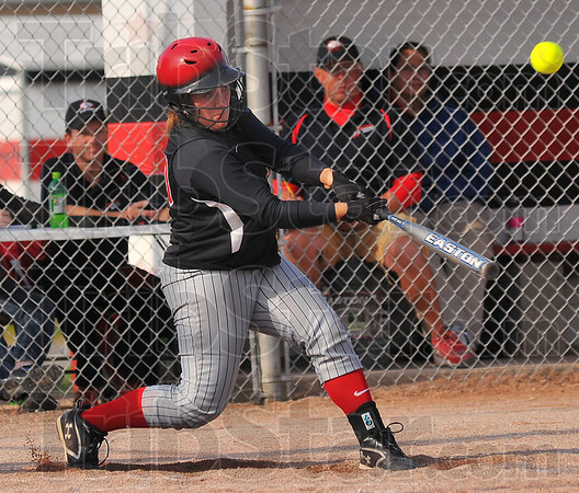 Take a hack: Terre Haute South catcher Tiffany Fendrick takes a swing against Northview Thursday evening on the Braves' diamond.