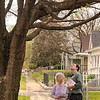 Tribune-Star/Joseph C. Garza<br /> Health check: City Forester Bill Kincius inspects a sugar maple tree for Second Avenue resident Ruth Benjamin Thursday. Even though Benjamin was concerned about the tree, Kincius said it was healthy and should pose no problem.
