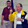 You're a farmer: Max Miller, Board member of the Terre Haute Children's Museum, talks about how we're all involved in agriculture three times a day, breakfast, lunch and supper. Behind him is Brad Burbrink, President of the Vigo County Farm Bureau. Miller was speaking at  monmthly meeting of the Bureau where it was announced they were donating $150,000 to the museum.