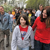 Walking for the homeless: Eleven-year-old Machelle Blair, center, walks with Betty Clary of the Terre Haute Housing Authority, right, during the Homeward Bound Walk Sunday in the National Heritage Trail.