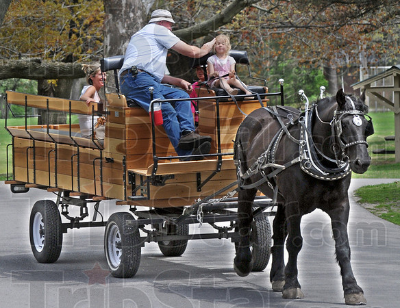 "Giddy-up: Four-year-old Chloe Kennedy gets her hair brushed-back by Larry Sample as Chloe drives ""Pete"" around Deming Park Friday afternoon. Chloe's mother, Carrie rides in the back of the wagon with her friend Amy Creamer."