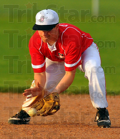 On it: Brave Secondbaseman Ricky Wheatfill snares a groundball.