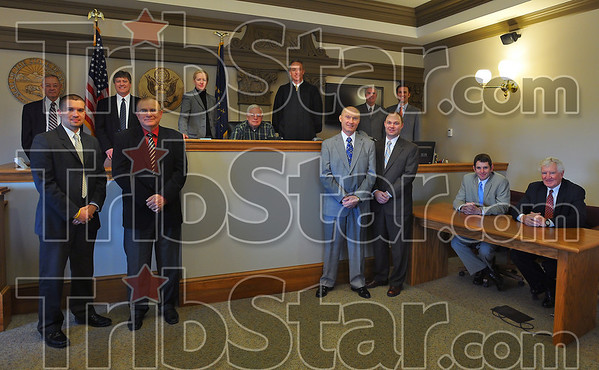 Law families: Front row: Noah and Chris Gambill, Bob and Matt Effner, Mike and Bob Wright. Back row Jerry and Edward McGlone, Libby Lewis, Jordan Lewis and Miuke Lewis, Rick and Richard Shagley.