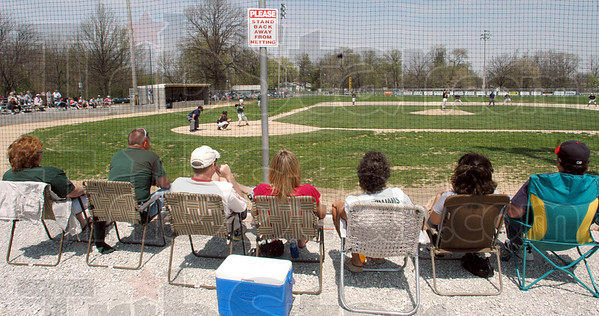 Laker look-out: Baseball fans enjoy the view of the remodled Laker Stadium Saturday afternoon as they watch a Paris High School game.