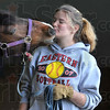 Tribune-Star/Joseph C. Garza<br /> A kiss before class: Scooter the mustang offers a kiss to St. Mary-of-the-Woods student Debra Wisley before Wisley's Equine 111 class final exam Thursday.