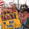 Tribune-Star/Joseph C. Garza<br /> Less taxation: Howard Pennell offers his opinion on taxes as he stands outside of the Vigo County Courthouse Wednesday during a tea party demonstration.