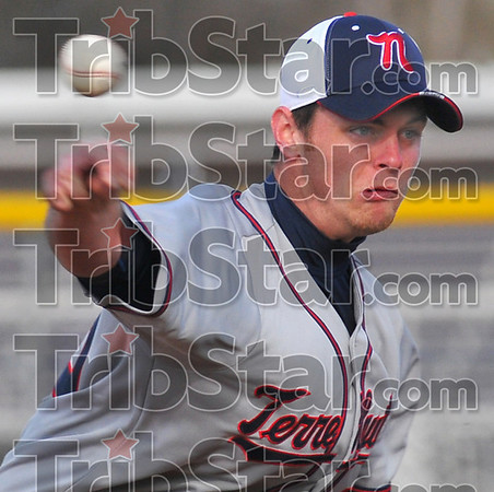 Coming home: Terre Haute North starting pitcher Jared Eller delivers a pitch in the early going of their game at Sullivan.