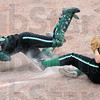 Collision: West Vigo third baseman #36, Brittney Hall collides with catcher Brianna Stewart at the plate after catching a pop-up during game action Wednesday night against Terre Haute South.
