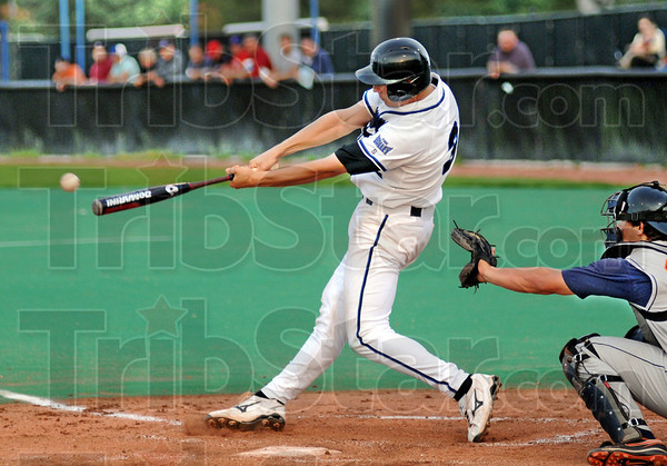 Double: Indiana State's #32, Brian Jett drills a double during action against Illinois at Sycamore Field Wednesday night.