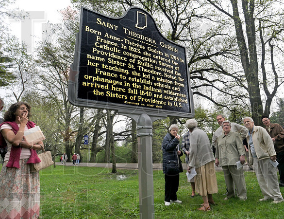 Unveiled: An Indiana Historical Marker honoring Saint Guerin was unveiled during a ceremony on the St. Mary's campus Wednesday afternoon.