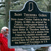 Picture this: Detail photo of the historical marker honoring Saint Theodore Guerin is photographed by an attendee of Wednesday's event on the St. Mary's campus.