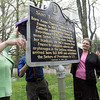 Unveiling: Connie McCammon (L) and Sister Mry Ryan, director of archives unveil a historical marker on the St. Mary's campus Wednesday afternoon.