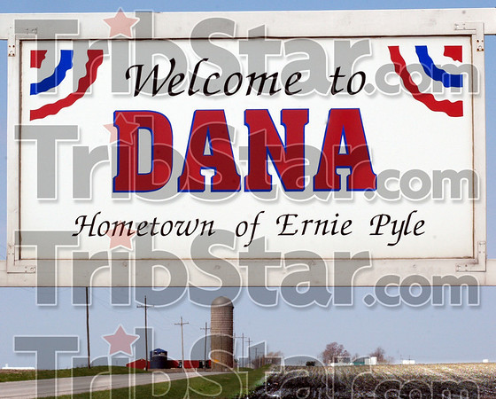 Dana: The sign along SR 36 announces the town of Dana, Indiana.