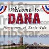 Dana: The sign along SR 36 announces the town of Dana, Indiana.