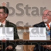 Tribune-Star file photo/Joseph C. Garza<br /> Ready to square off (again): Mayoral candidates Duke Bennett and Mayor Kevin Burke prepare to answer questions during the mayoral debate Tuesday, Oct. 2, 2007 at the main branch of the Vigo County Library.