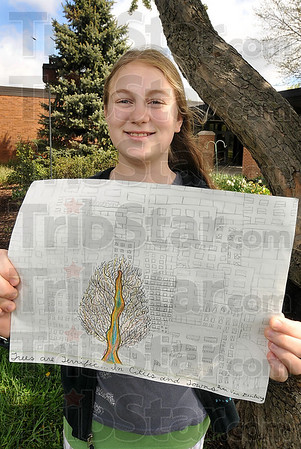 Tribune-Star/Joseph C. Garza<br /> Regional winner: Fifth-grader Gwen Van Denburg's poster was the south central Indiana regional winner in the Indiana Urban Forest Council's 2009 Arbor Day Poster Contest. Van Denburg is a student at Meadows Elementary.