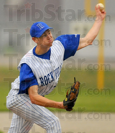 Bringing heat: Rox pitcher Matt King delivers a pitch to a Patriot batter.