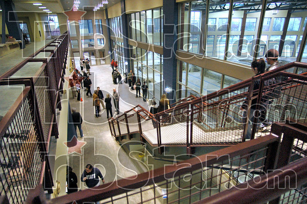 Sneak peek: Indiana State University students tour the new student recreation center on campus Monday afternoon.