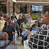 Marching on: Valerie Hart-Craig addresses the marchers before they set out across the ISU campus Tuesday afternoon. A group of about 40 students and faculty took part in the March Against Hate.