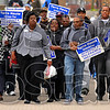On the move: A gathering of about 40 marchers took part in March against Hate Tuesday afternoon on the Indiana State University campus.