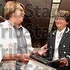 "Welcome: Davis Park Elementary School teacher Carol Crain chats with Sr. Helen Prejean before Prejean talks with students. Prejean, the author of ""Dead Man Walking"" was in Terre Haute for Human Rights Day."