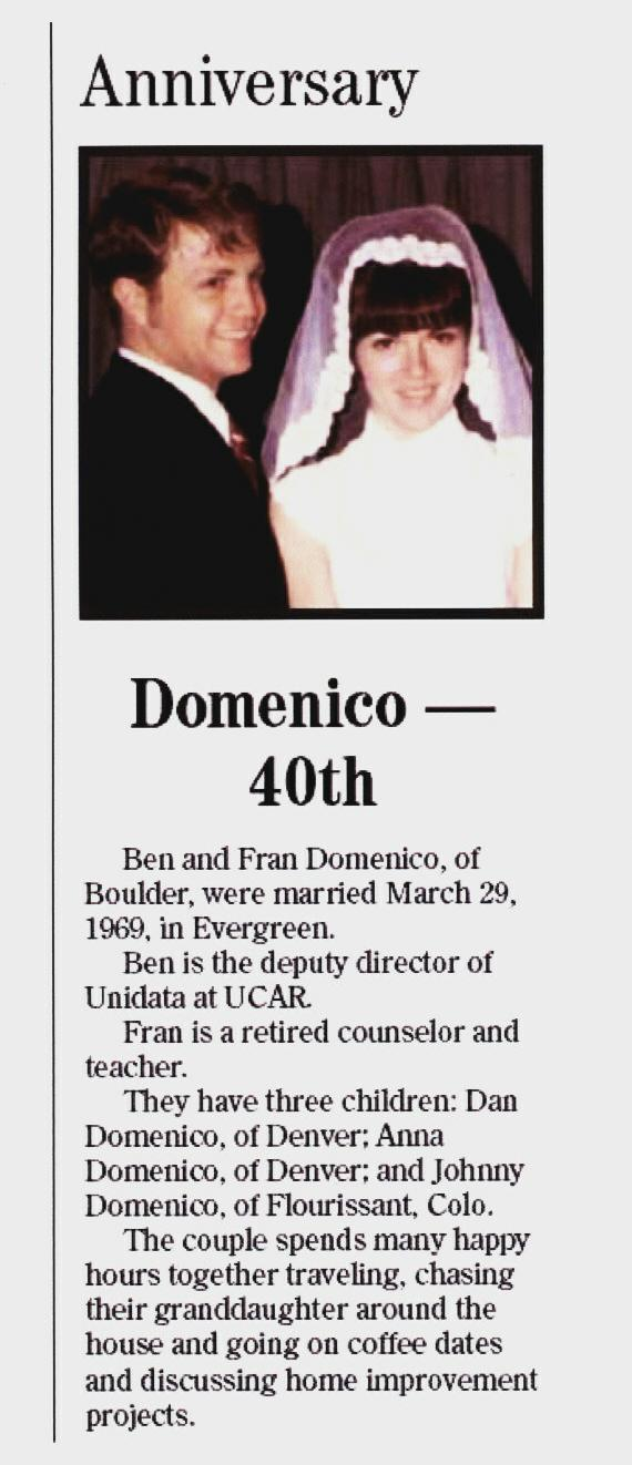 Ben and Franny 40th Annivesary Notice in the Boulder Daily Camera