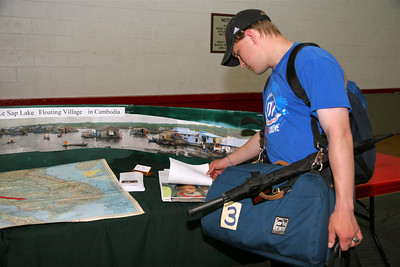 Due to the wet weather, Earth Day was celebrated indoors at the Bost Gym; April 14, 2009.