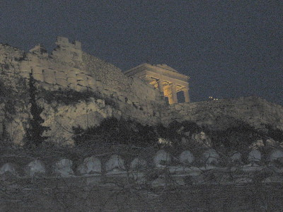 Acropolis from Rooftop Restaurant, Athens