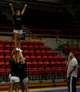 Gardner-Webb cheerleaders practice in the LYCC on Friday, August 28, 2009