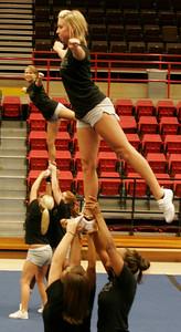 Gardner-Webb cheerleaders practice in the LYCC on Friday, August 28, 2009