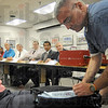 Demonstration: Dr. Ulrich give a demonstration of the new Game Ready equipment to athletic directors during Thursday's meeting at the Vigo Co. School Corp.