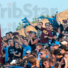 Tribune-Star/Joseph C. Garza<br /> True blue fans: Indiana State fans and students fill a large section of the stands as they cheer during a kickoff Thursday during the Sycamores' game against Quincy at Memorial Stadium.