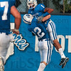 Tribune-Star/Joseph C. Garza<br /> Indiana State's Bryant Kent (1) celebrates his touchdown with a teammate during the Sycamores' game against Quincy Thursday at Memorial Stadium.