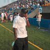 Tribune-Star/Joseph C. Garza<br /> A friend of Troy: Indianapolis Colts wide receiver Reggie Wayne came to Thursday's game to support his friend and Indiana State assistant coach, Troy Walters.