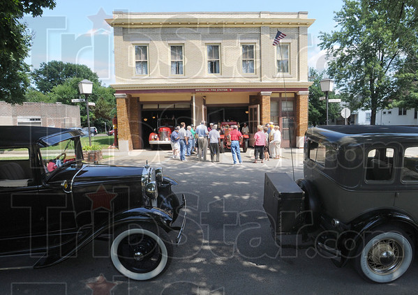 Tour stop: Participants in the Grand Indiana Auto Tour stop at the Terre Haute Police and Fire Museum Thursday afternoon.