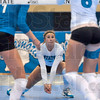 Tribune-Star/Joseph C. Garza<br /> Incoming: Indiana State's Emily Mozwecz kneels for an incoming serve during the Blue-White Scrimmage Sunday at Indiana State.