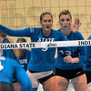 Tribune-Star/Joseph C. Garza<br /> Team Blue is ready: Indiana State's Stephanie Volden and Shea Doran ready for a teammate's serve during the Blue-White Scrimmage Sunday at Indiana State.