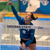 Tribune-Star/Joseph C. Garza<br /> Point for Team Blue: Indiana State's Jodilynne Stoker spikes a set ball against Team White during the Blue-White Scrimmage Sunday at Indiana State.