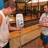 Tribune-Star/Joseph C. Garza<br /> Germ-free hands: Indiana State University students Nick Hogue of Anderson and Evan Shortridge of Greenwood make use of the free hand sanitizer in the Student Recreation Center Sunday after a workout.
