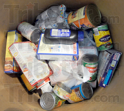 Collection: Detail photo of food items collected by Denny's.