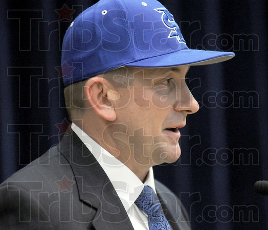 Baseball: Rick Heller is introduced as the new Indiana State University head baseball coach Friday, August 14, 2009 during a prese conference in the student union building.