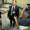 Prosecutor: Terry Modesitt speaks with Tribune-Star reporter Howard Greninger (L) and  other news media after the sentencing of Katron Walker Friday afternoon.