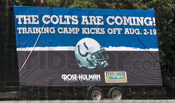 Tribune-Star/Joseph C. Garza<br /> The herd returns: A sign just west of the Rose-Hulman Institute of Technology entrance announces the Indianapolis Colts football team's arrival on US 40.